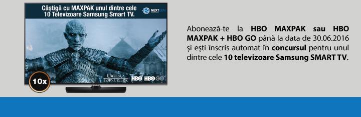 """Campania """"12 luni reduse la jumatate de MAXPAK, iti aduc unul dintre cele 10 televizoare Samsung Smart TV."""